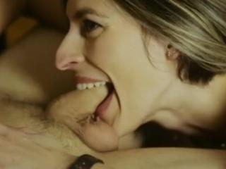 Steamy Smiling Woman Blows Uncut Dick. Swallows Jizz