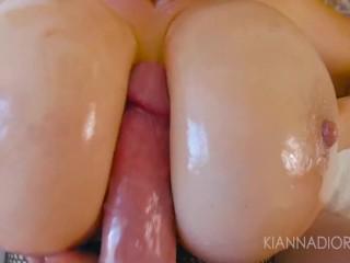 Kiana Dior Oils Up Her Massive Breasts & Swallows Jizz