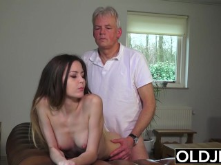 Old And Young Porn – Babysitter Pussy Destroyed By Old Guy And Swallows Spunk