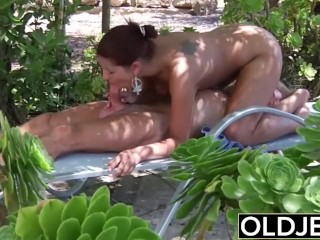 Young Girlfriend Caught Banged By Old Guy She Blows His Penis And Swallows Spunk
