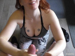 Sports Bra Tit Fuck – Massive Load Between Enormous Boobs & Jizz Eating After Workout