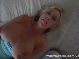 Busty MILF Playing With Her Pussy Swallows Cum Shot To Finish