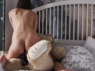 Thin Student Rebeka Riding Huge Black Dick On Teddy Bear, Swallows Sperm And Eats It, Innocent Body.