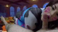 Overwatch D.VA Plays To Win Cosplay POV Blow-Job Gabby Monroe Sperm Swallow