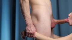 Handcuffed Honey Banged In Mouth – No Hands Blow-Job With Oral Creampie