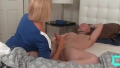 Oral Creampie Countdown: Kissable Golden-haired Cougar Empties Hubby's Balls